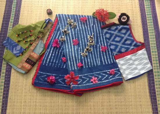 Picture of INDIGO HANDWOVEN SAREE CHETTINAD RED STRIPE