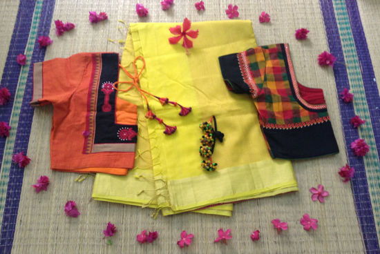 Picture of YELLOW MAHESHWARI SILK COTTON